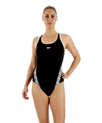 Speedo Monogram Msbk AF Black White 8-087333503 Női Úszódressz